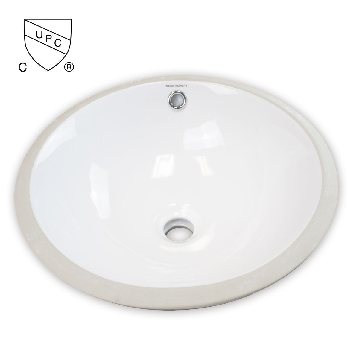 Decoraport Lavabo-Vasque Rond de Dessous de Comptoir en Céramique Blanche (MY-3712)