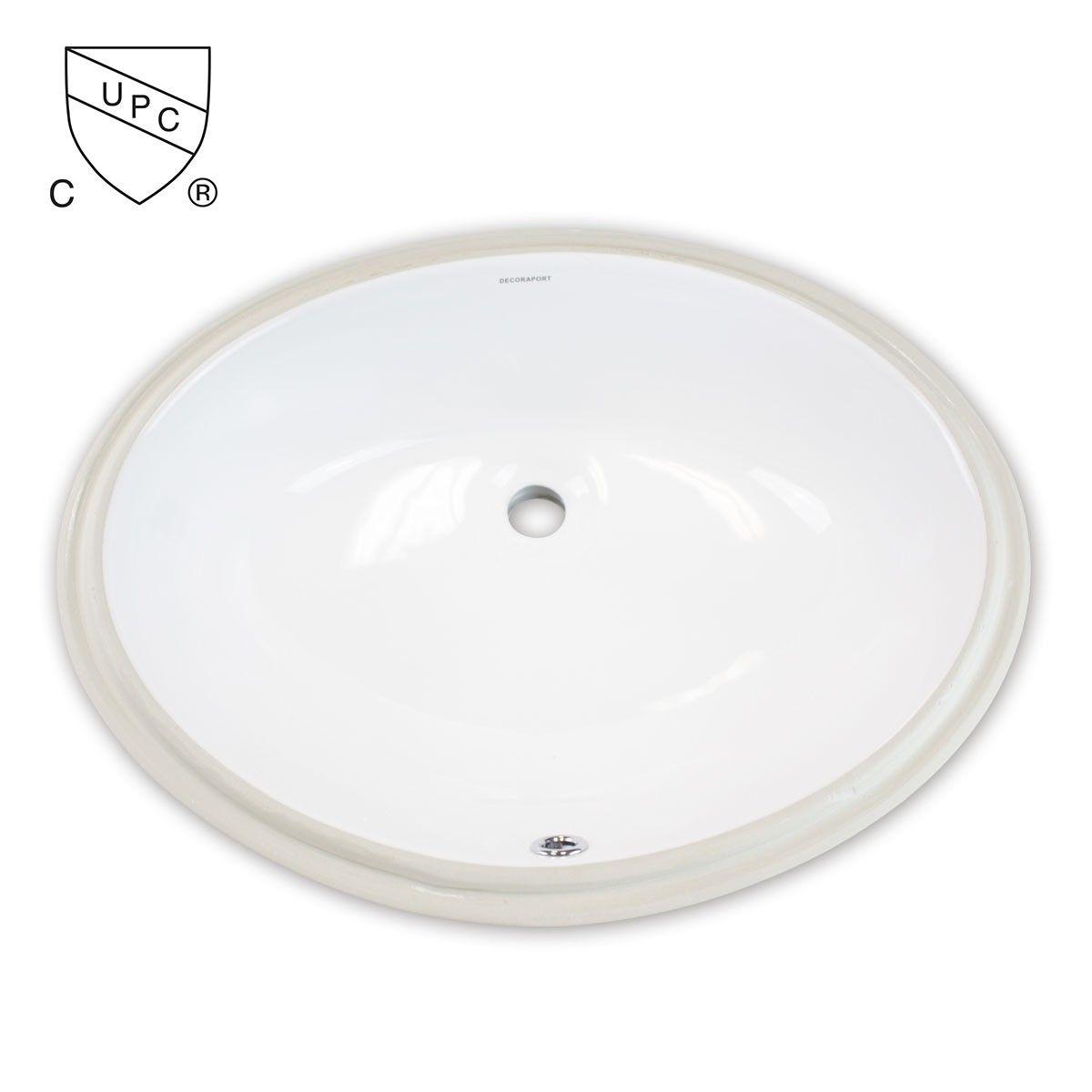 Decoraport Lavabo-Vasque Ovale de Dessous de Comptoir en Céramique Blanche (MY-3708)