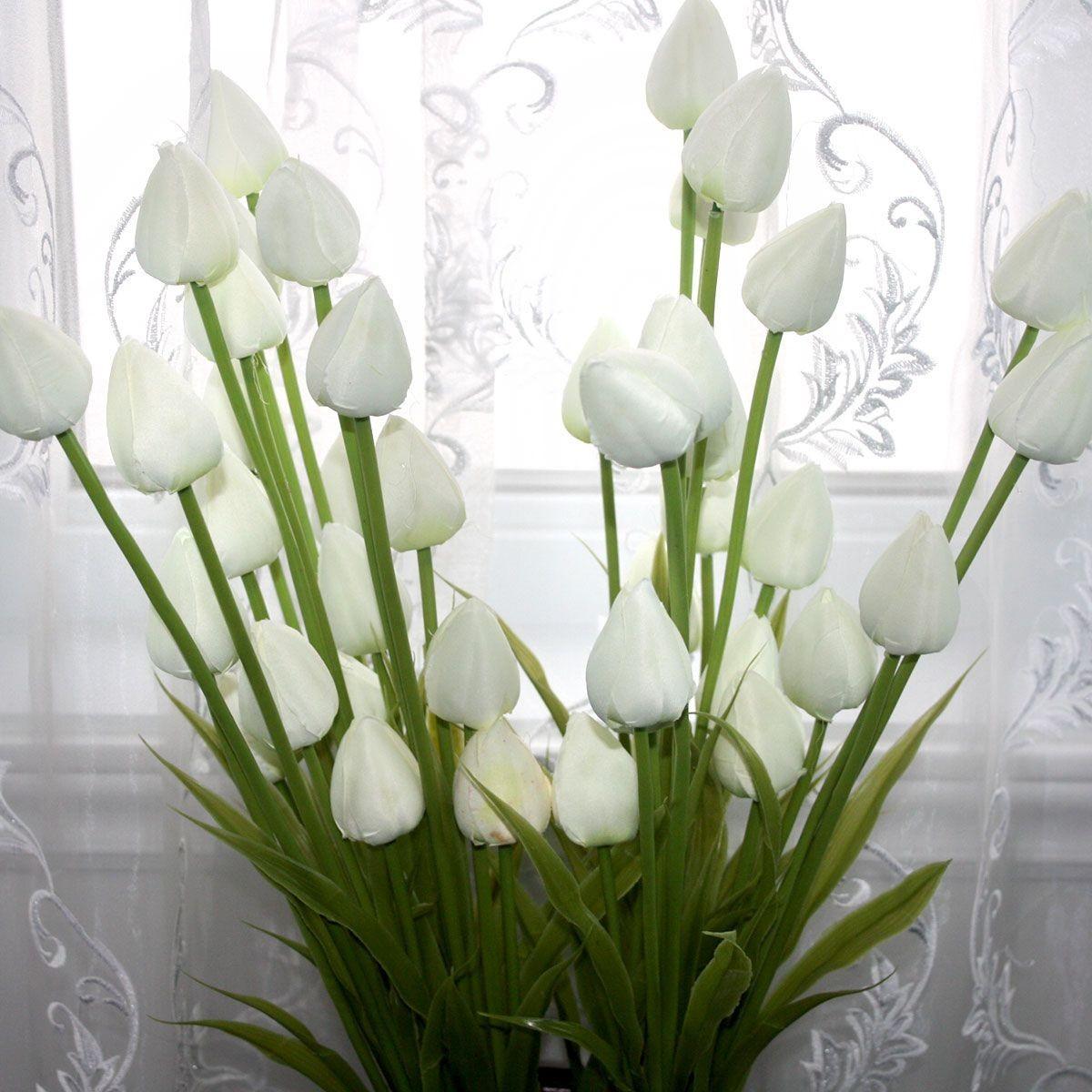 "Artificial Tulip Flower/Piece - 35"" - White"
