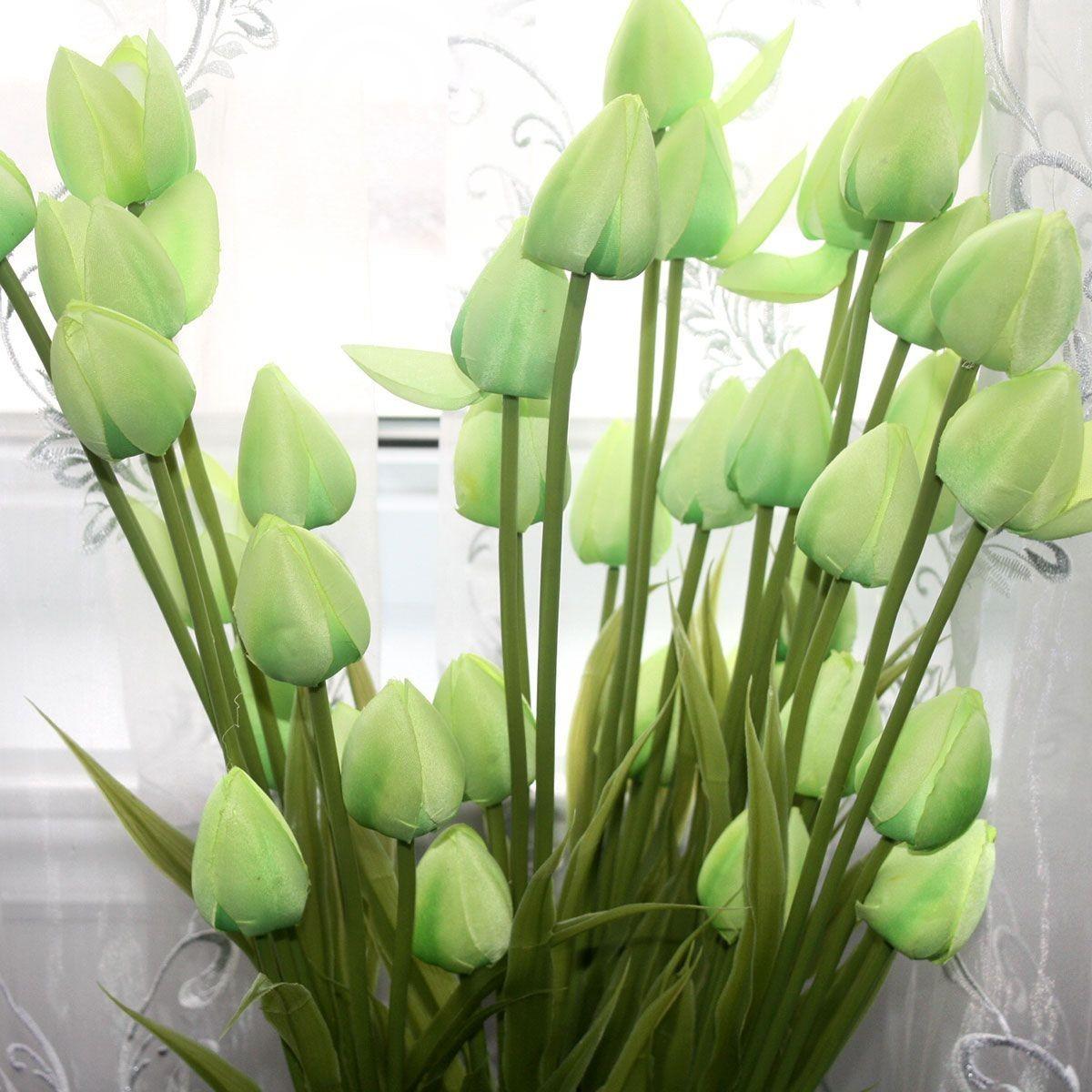 """Artificial Tulip Flower/Piece - 35"""" - Green"""