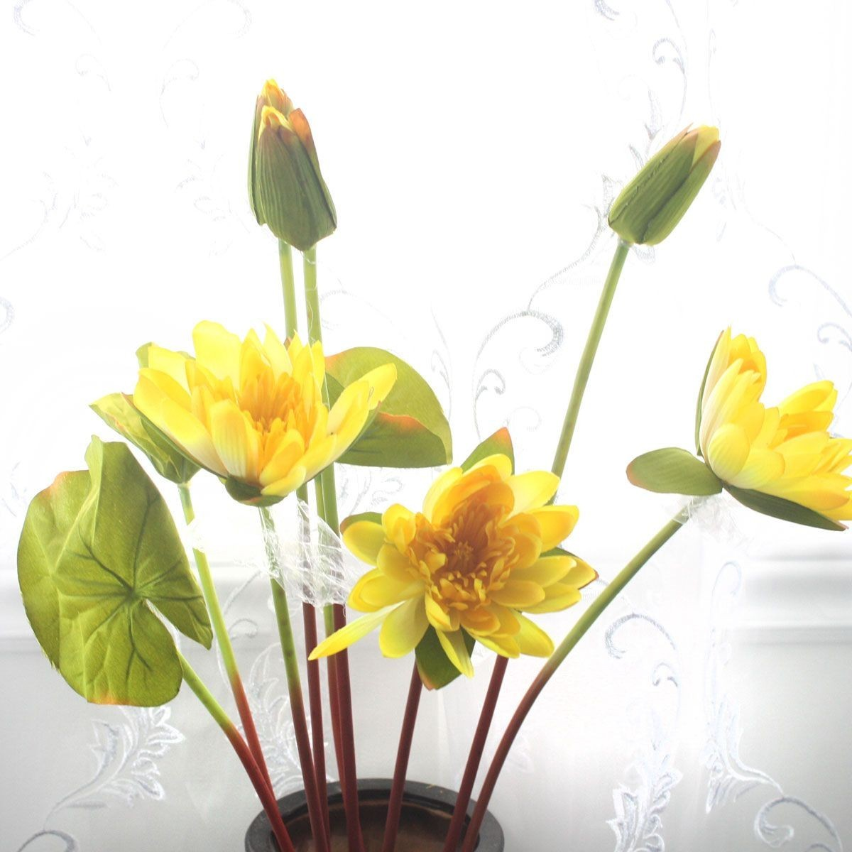 """Artificial Water Lily Flower/3 Heads/Piece - 37"""" - Yellow"""