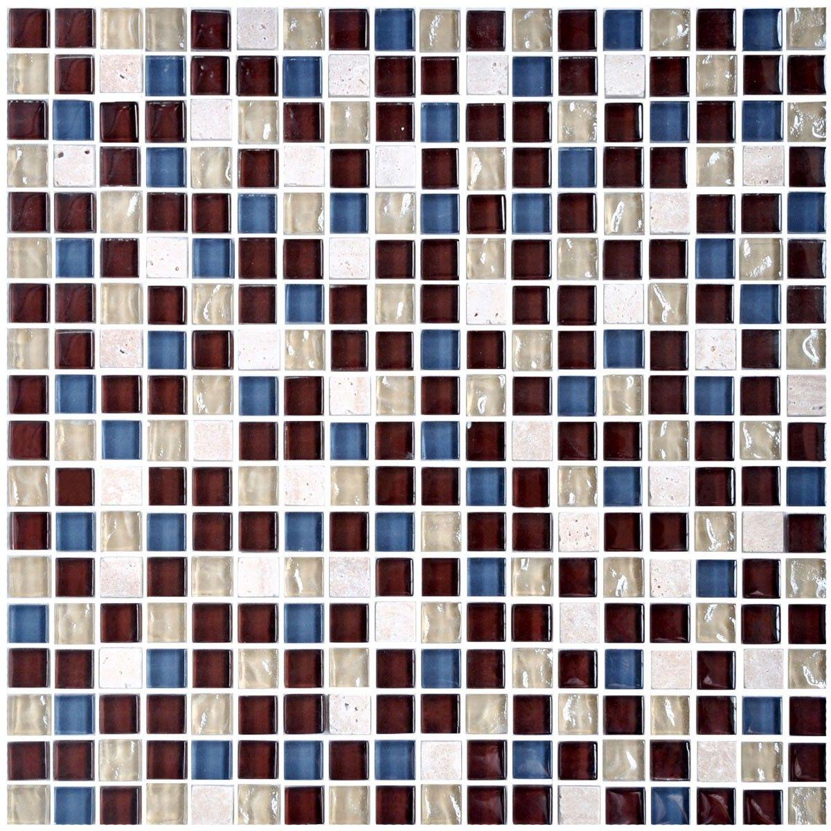 12 po x 12 po Carreau Mosaïque en mélange de Verre et de Pierre en épaisseur de 8mm (A2012)