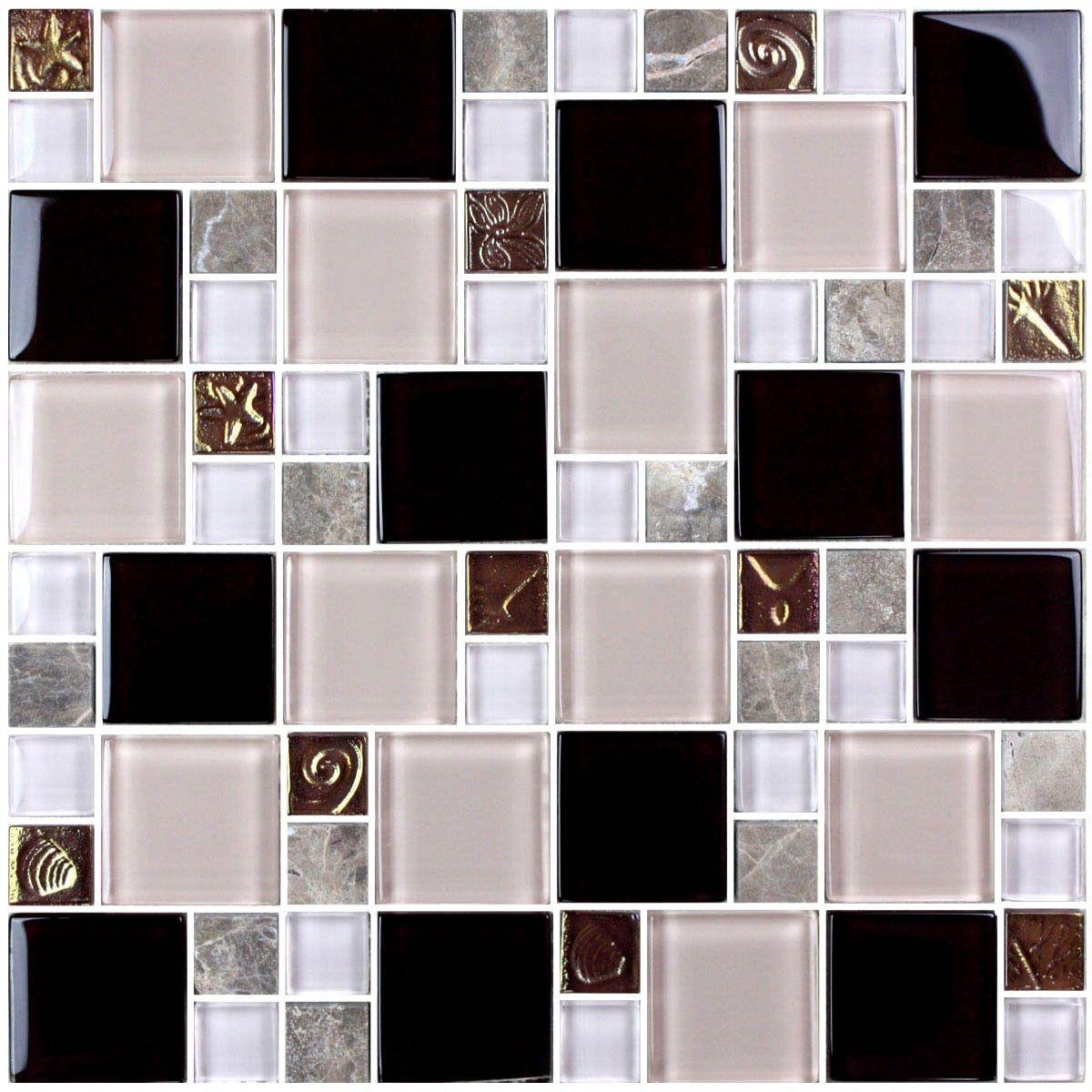 12 po x 12 po Carreau Mosaïque de Verre Électrolytique en épaisseur de 8mm (D0434B1)