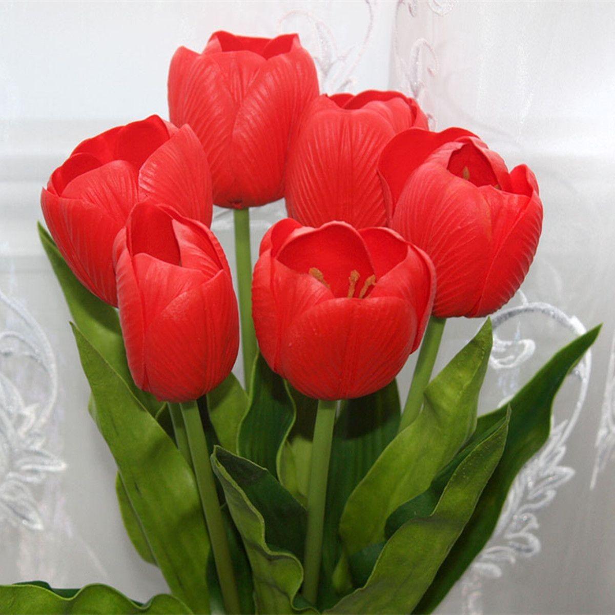 "PU Artificial Tulip Flower/Piece - 23"" - Red"
