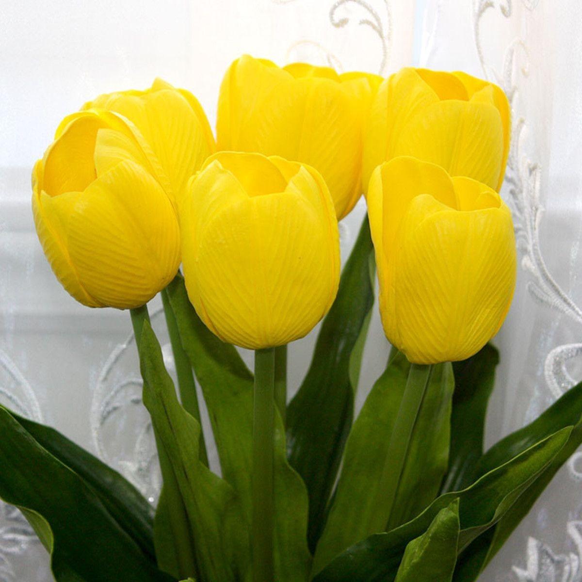 "PU Artificial Tulip Flower/Piece - 23"" - Yellow"