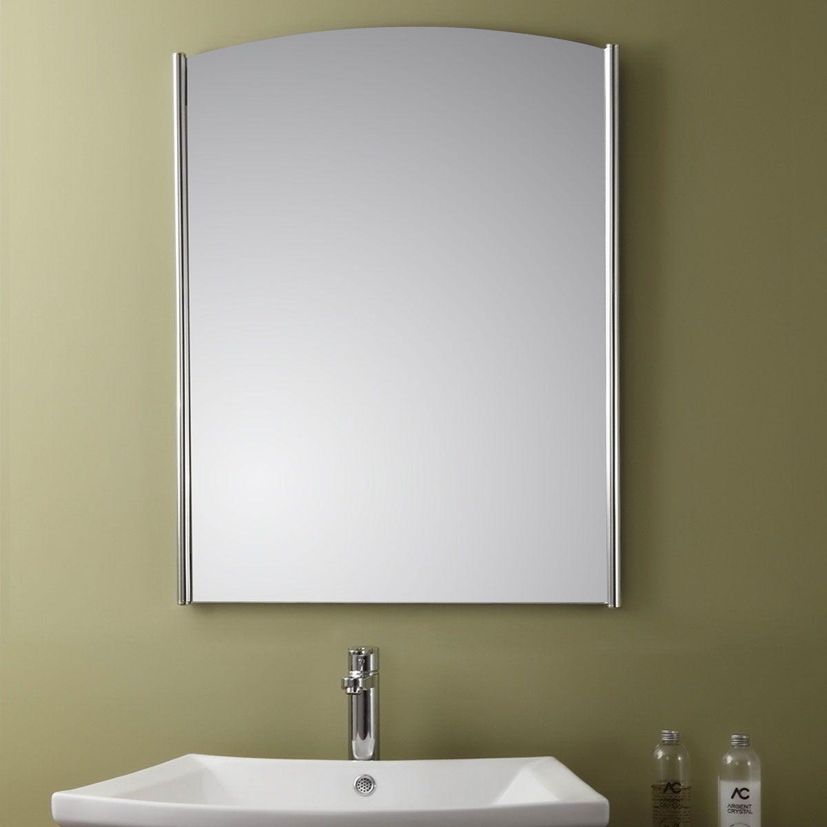 Miroir Vertical Argenté avec Cadre en Acier Inoxydable de Salle de ...