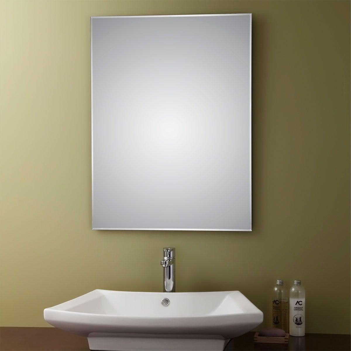 24 x 32 po miroir argent sans cadre de salle de bains for Miroir rectangulaire sans cadre