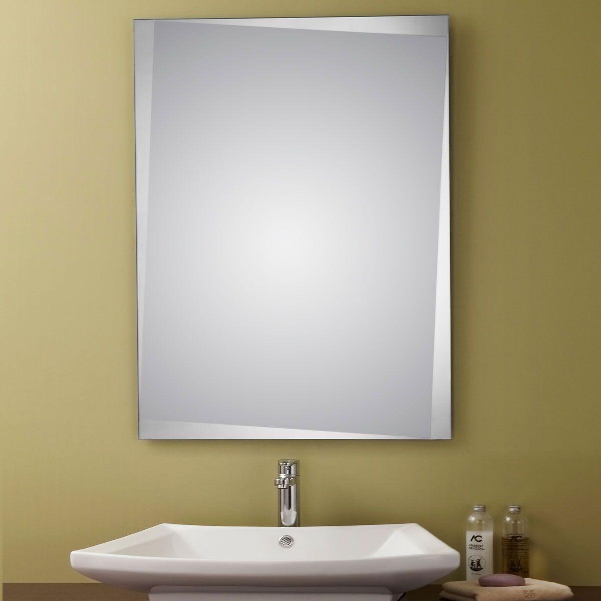 24 x 32 po miroir argent sans cadre de salle de bains for Miroir biseaute sans cadre
