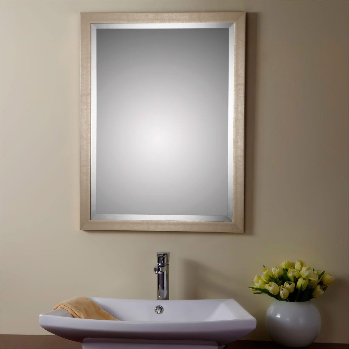 24 x 32 po miroir r versible argent avec cadre en bois imitation de salle de bains yj 1954h. Black Bedroom Furniture Sets. Home Design Ideas
