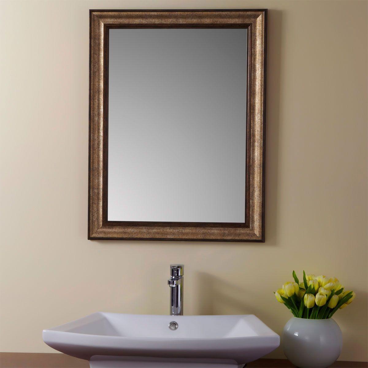24 x 32 po Miroir Réversible avec Cadre en Bois Imitation de Salle de Bains (YJ-1951H)