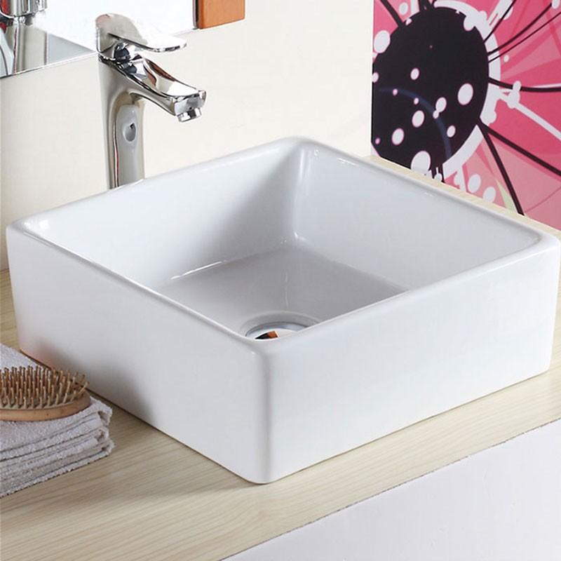 Lavabo-Vasque Carré de Dessus de Comptoir en Céramique Blanche (CL-1044)