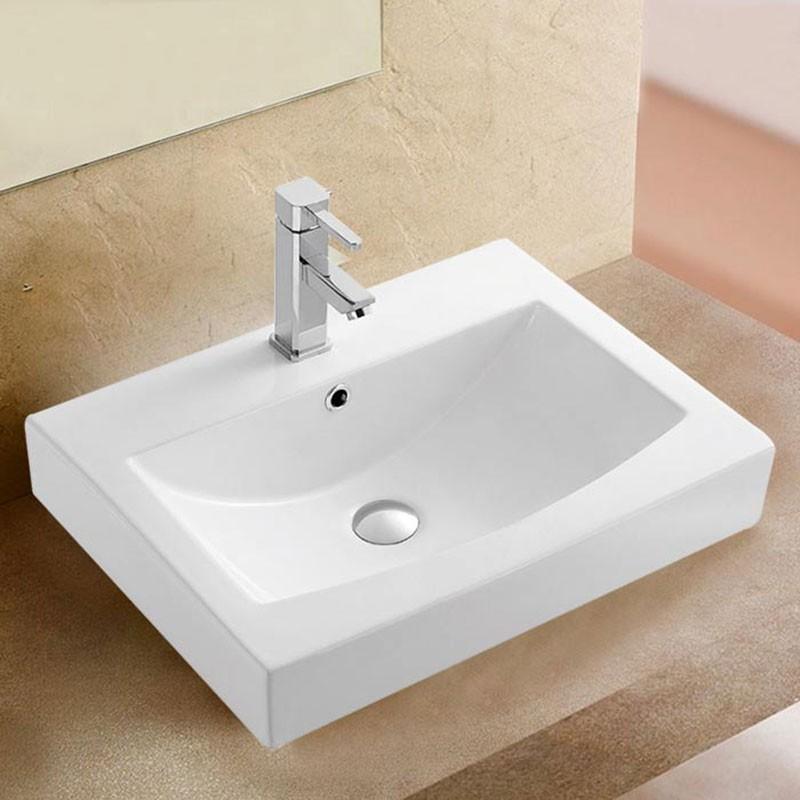 Lavabo-Vasque Rectangle de Dessus de Comptoir en Céramique Blanche (CL-1082)