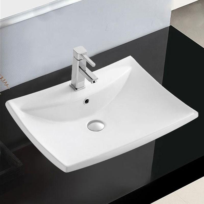 Lavabo-Vasque Rectangle de Dessus de Comptoir en Céramique Blanche (CL-1084)