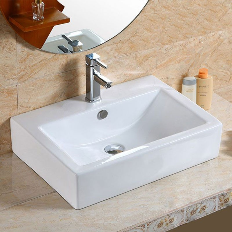 Decoraport Lavabo-Vasque Rectangle de Dessus de Comptoir en Céramique Blanche (CL-1179)