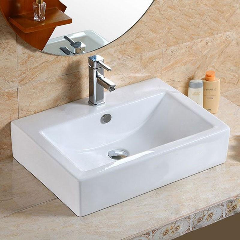 Decoraport Lavabo-Vasque Rectangle de Dessus de Comptoir en Céramique Blanche (CL-1179)