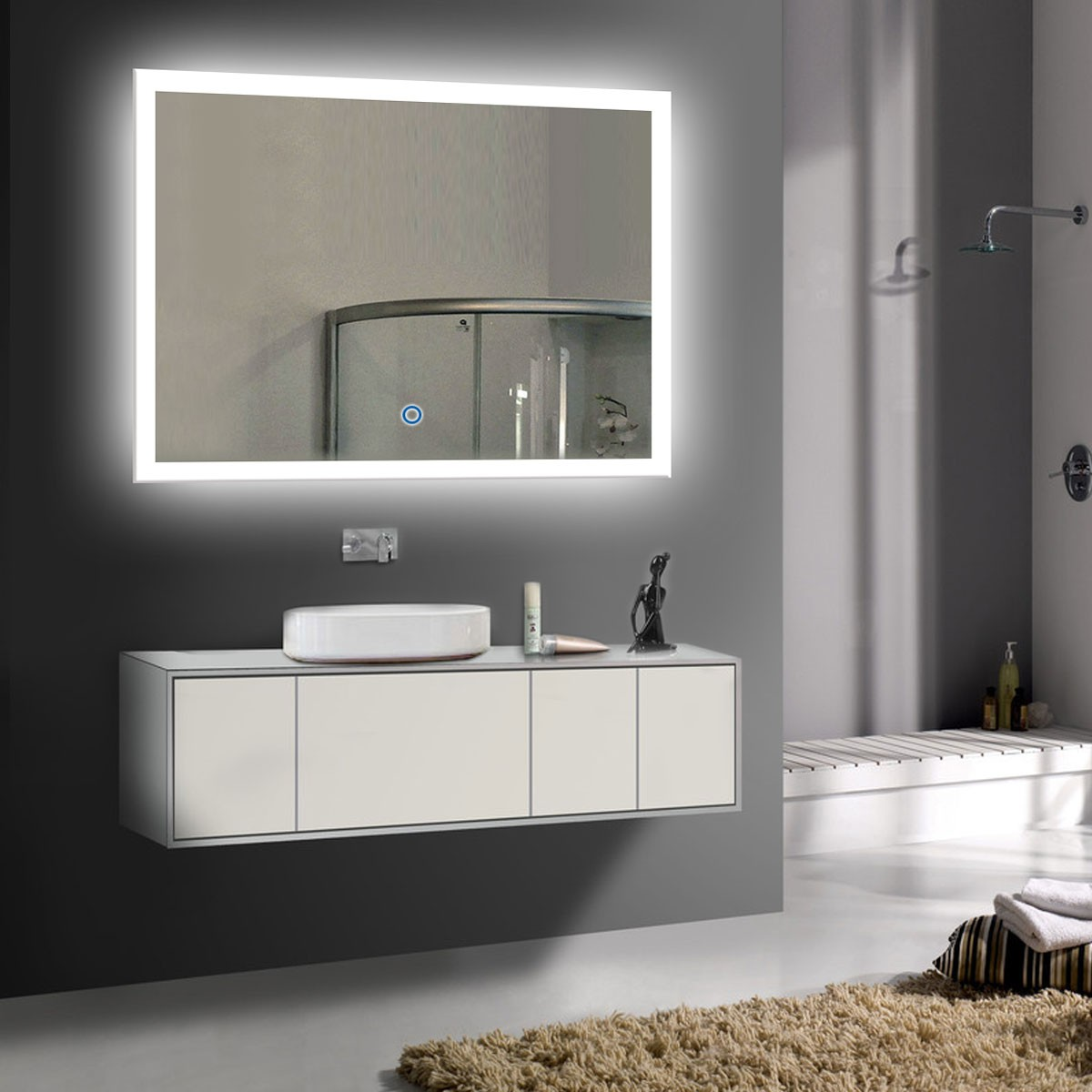 28 x 36 po miroir led horizontal argent de salle de bains. Black Bedroom Furniture Sets. Home Design Ideas