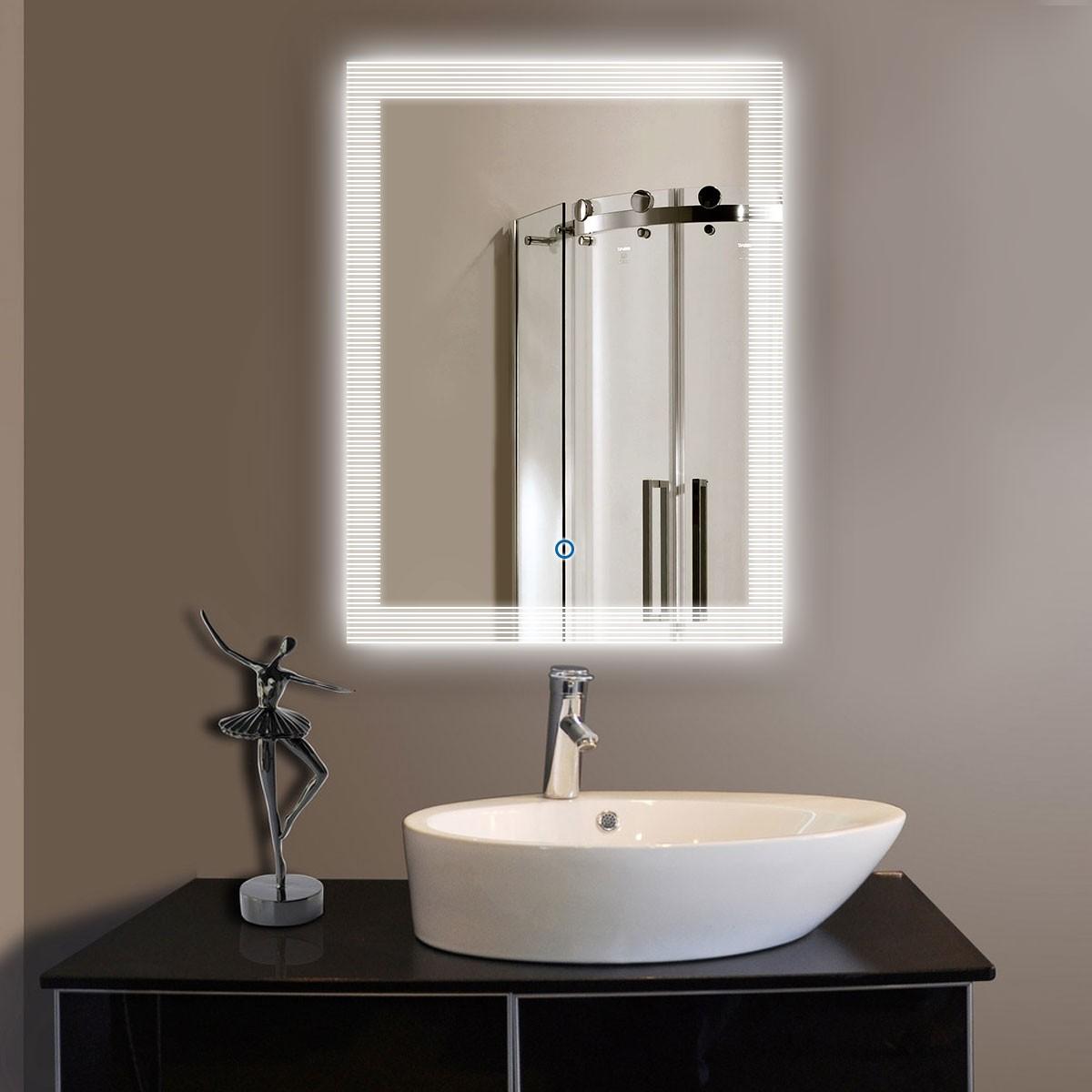 24 x 32 po Miroir de salle de bain LED vertical avec bouton tactile (DK-OD-N001)