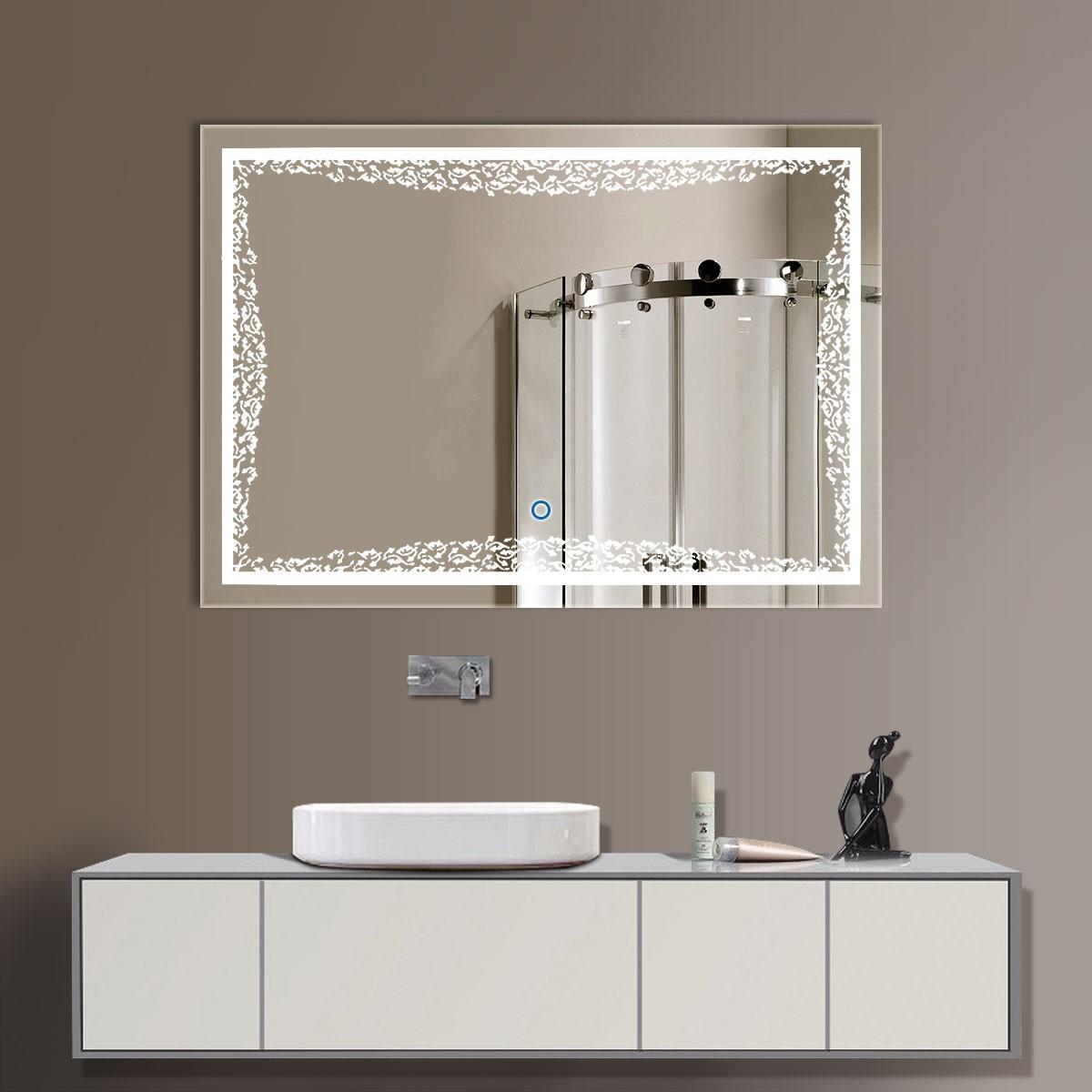 24 x 32 po miroir led horizontal argent de salle de bains avec l interrupteur tactile dk od for Miroir horizontal