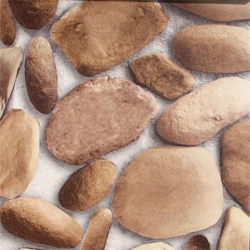 Papier Peint PVC en Galet Imitation à Effet 3D (57 sq.ft/Rouleau) (DK-SE457002)