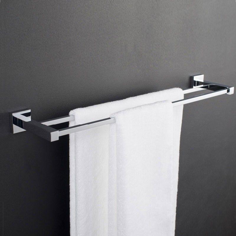 Barres porte serviettes double de 24 po laiton fini for Porte serviette double