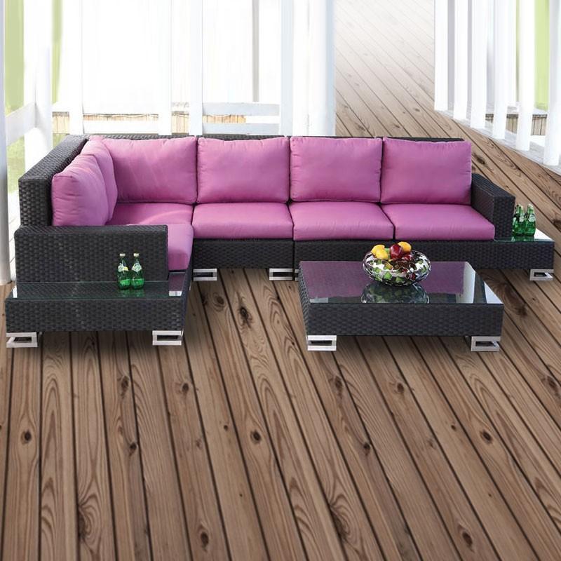 6-Pièce Salon de Jardin en Rotin avec Coussin: 2 Canapés, 2 Canapés sans Accoudoir, Canapé d'Angle, Table Basse (LLS-351)