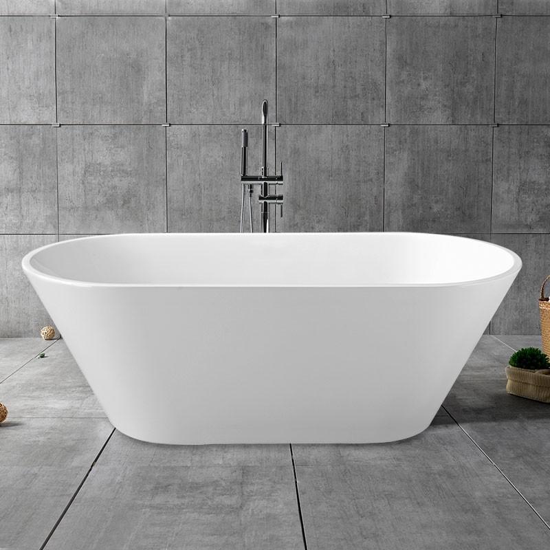 62 po baignoire autoportante blanche en acrylique sans for Plomberie salle de bain sans soudure