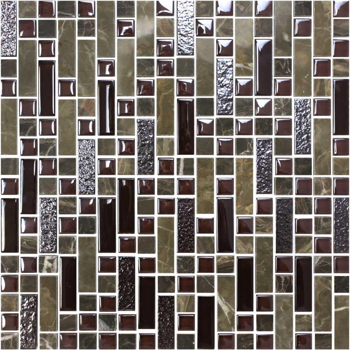 12 po x 12 po Carreau Mosaïque de Verre Électrolytique en épaisseur de 8mm (K15038)