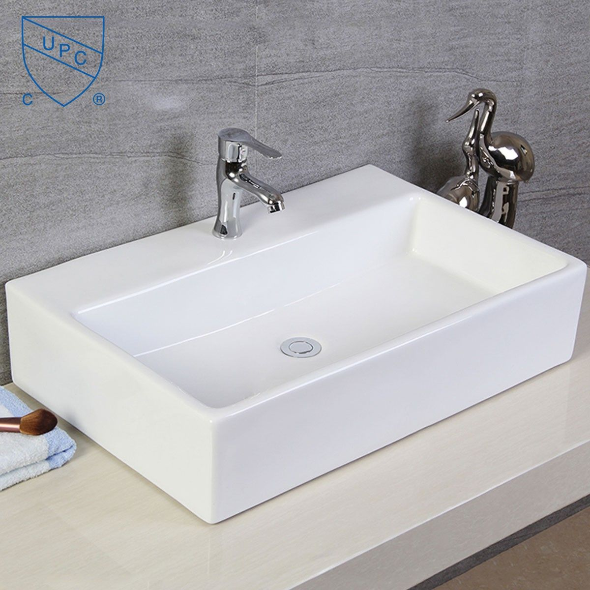 Decoraport Lavabo-Vasque Rectangle de Dessus de Comptoir en Céramique Blanche (CL-1099)
