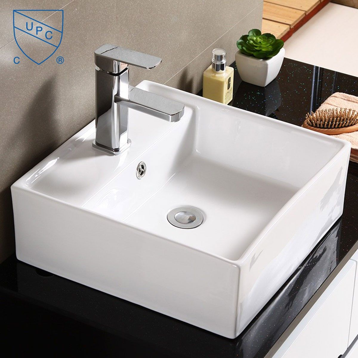 Decoraport Lavabo-Vasque Carré de Dessus de Comptoir en Céramique Blanche (CL-1079)