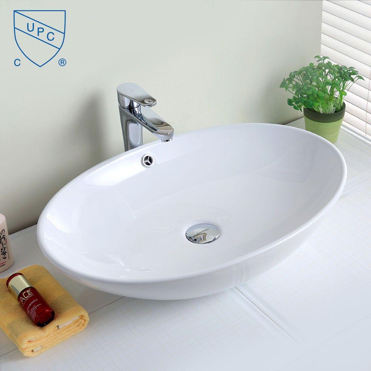 Lavabo vasque ovale de dessus de comptoir en c ramique for Dessus de comptoir de salle de bain