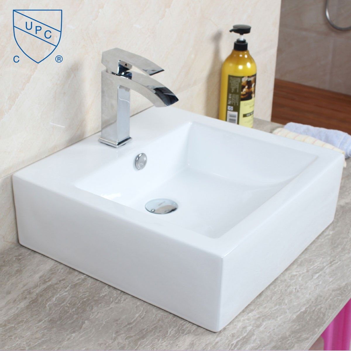Lavabo vasque carr de dessus de comptoir en c ramique for Dessus de comptoir salle de bain