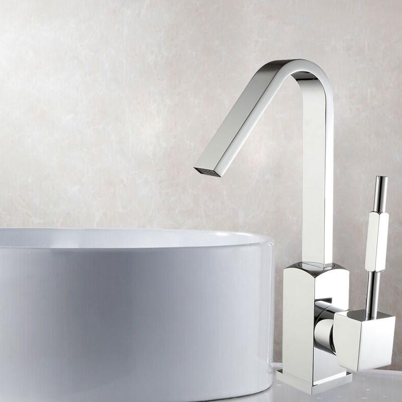 Robinet de Lavabo&Vasque - Simple Trou Simple Levier - Laiton Fini Chrome (6212)