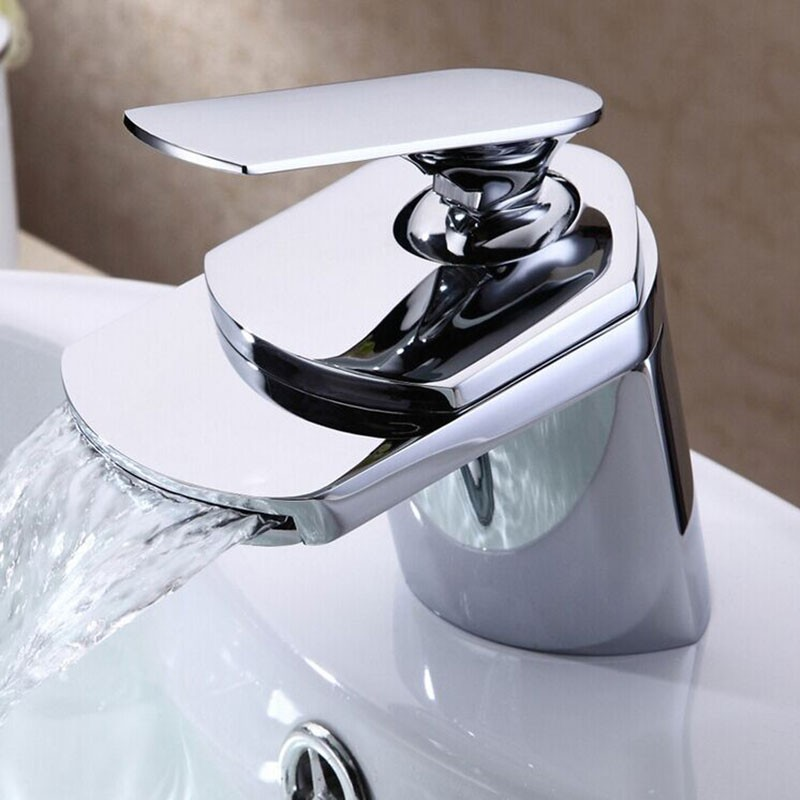 Robinet à Cascade de Lavabo&Vasque - Simple Trou Simple Levier - Laiton Fini Chrome (81H19-CHR)
