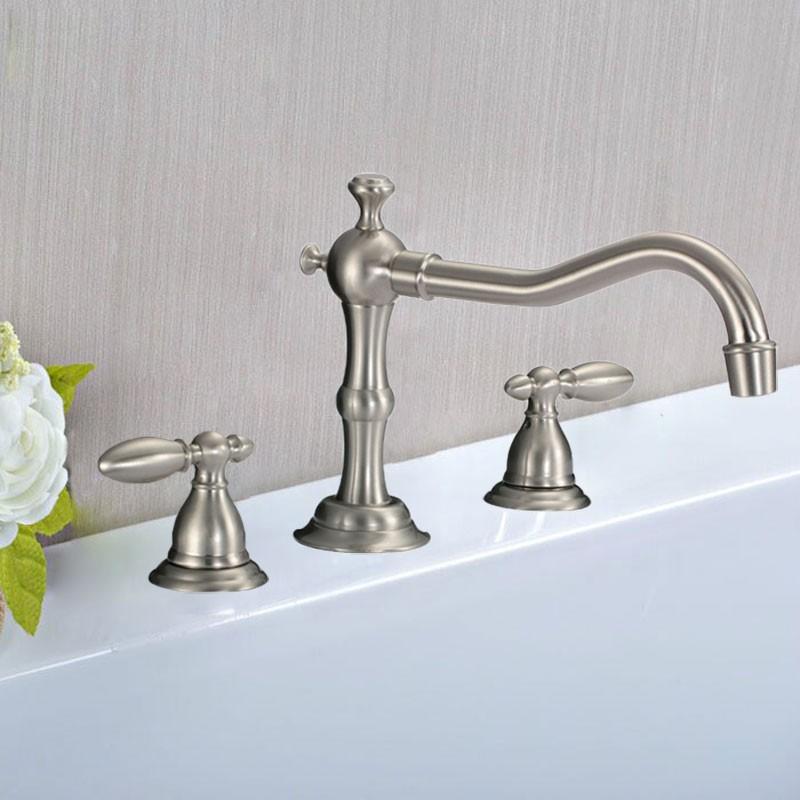 Decoraport Robinet de Baignoire&Lavabo Vasque de Trois Pièces de Style Classique - Laiton en Nickel Brossé (83H13-BN)