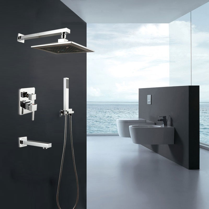 Decoraport Robinet de Douche Fixé au Mur - Laiton Fini Chrome (7523)