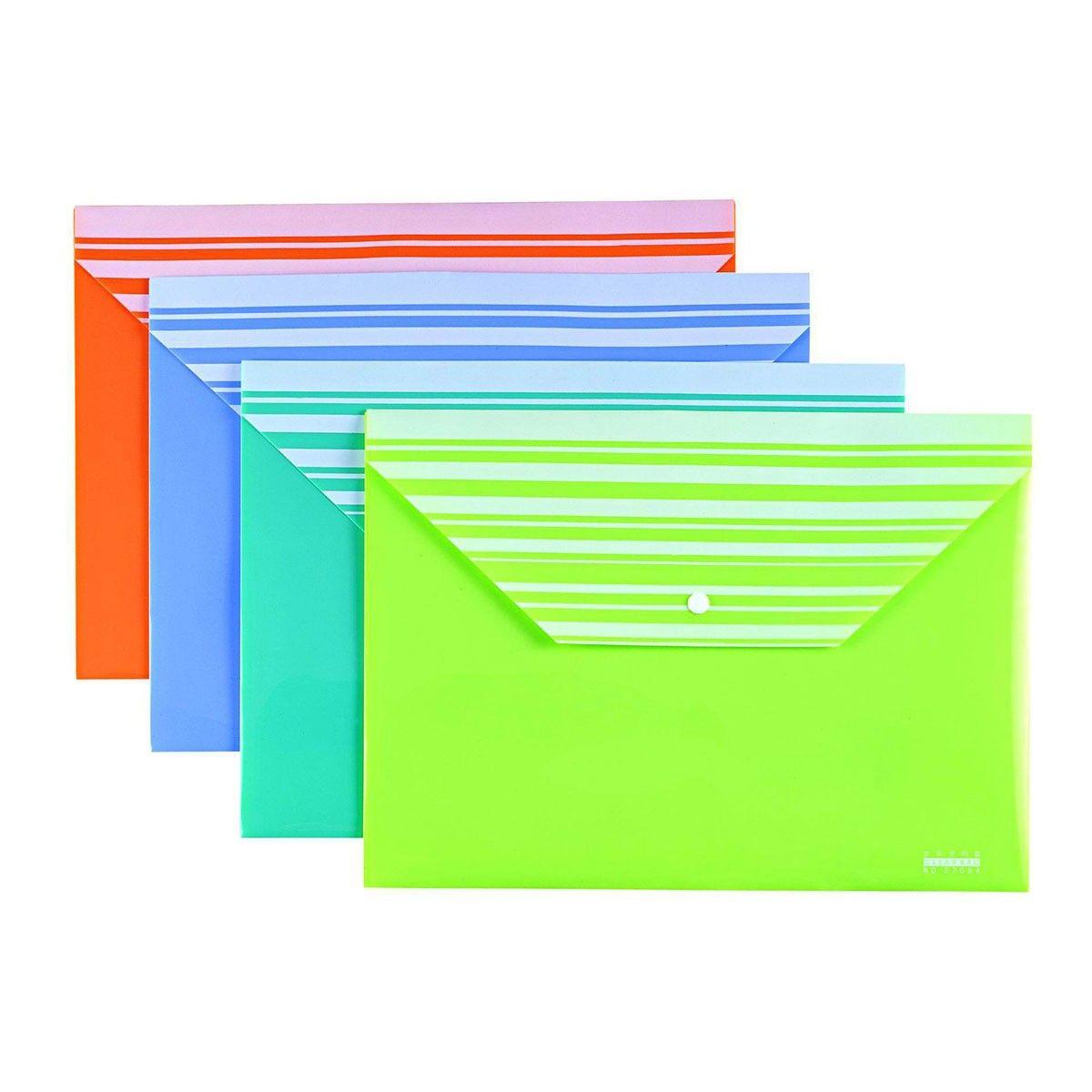 Pochette Porte-documents à Bouton en PP 10/paquet(DK-FB-01SV)