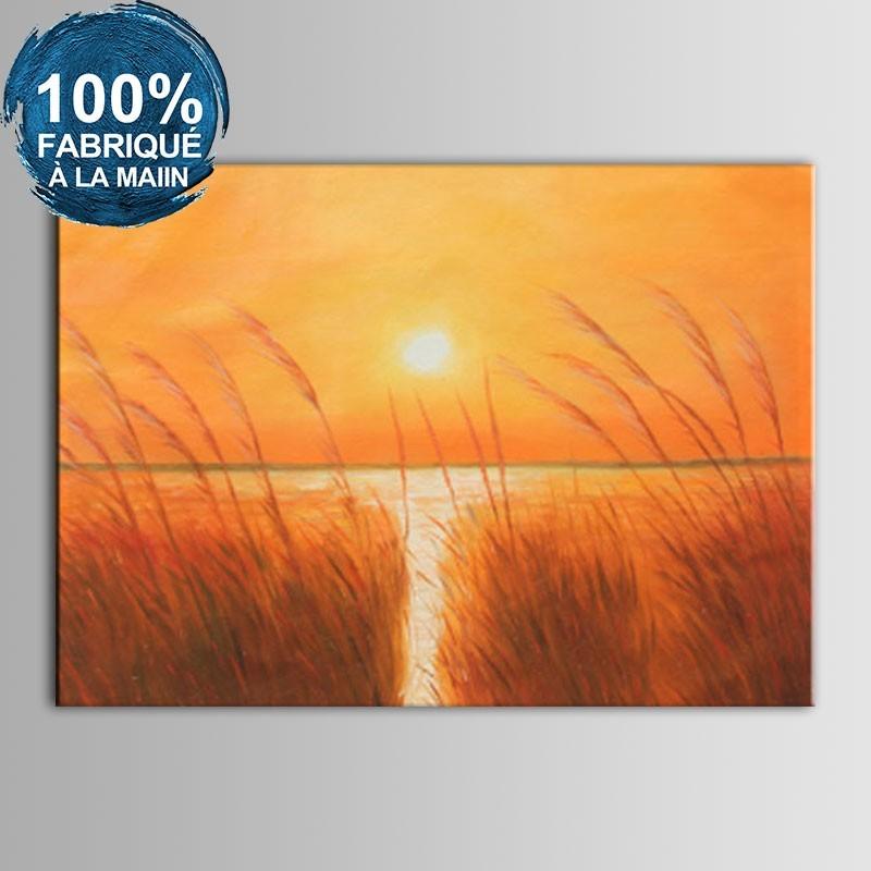 Peinture à l'Huile Peinte à la Main sur Canevas - Soleil Couchant de la Mer Abstrait (DK-JX-YH056)