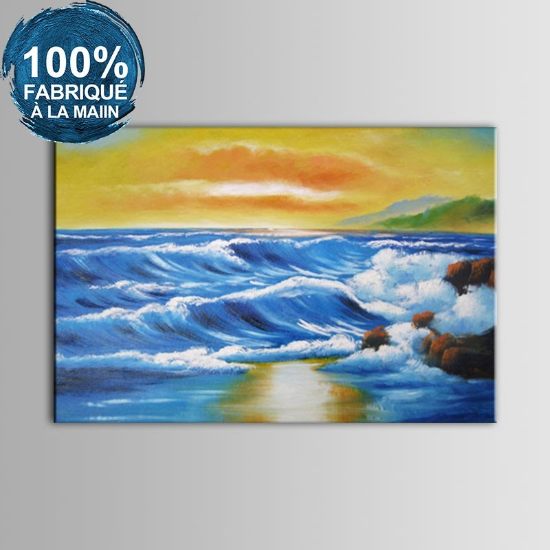 Peinture à l'Huile 100% Peinte à la Main sur Canevas - Paysage de la Mer Abstrait (DK-JX-YH053)