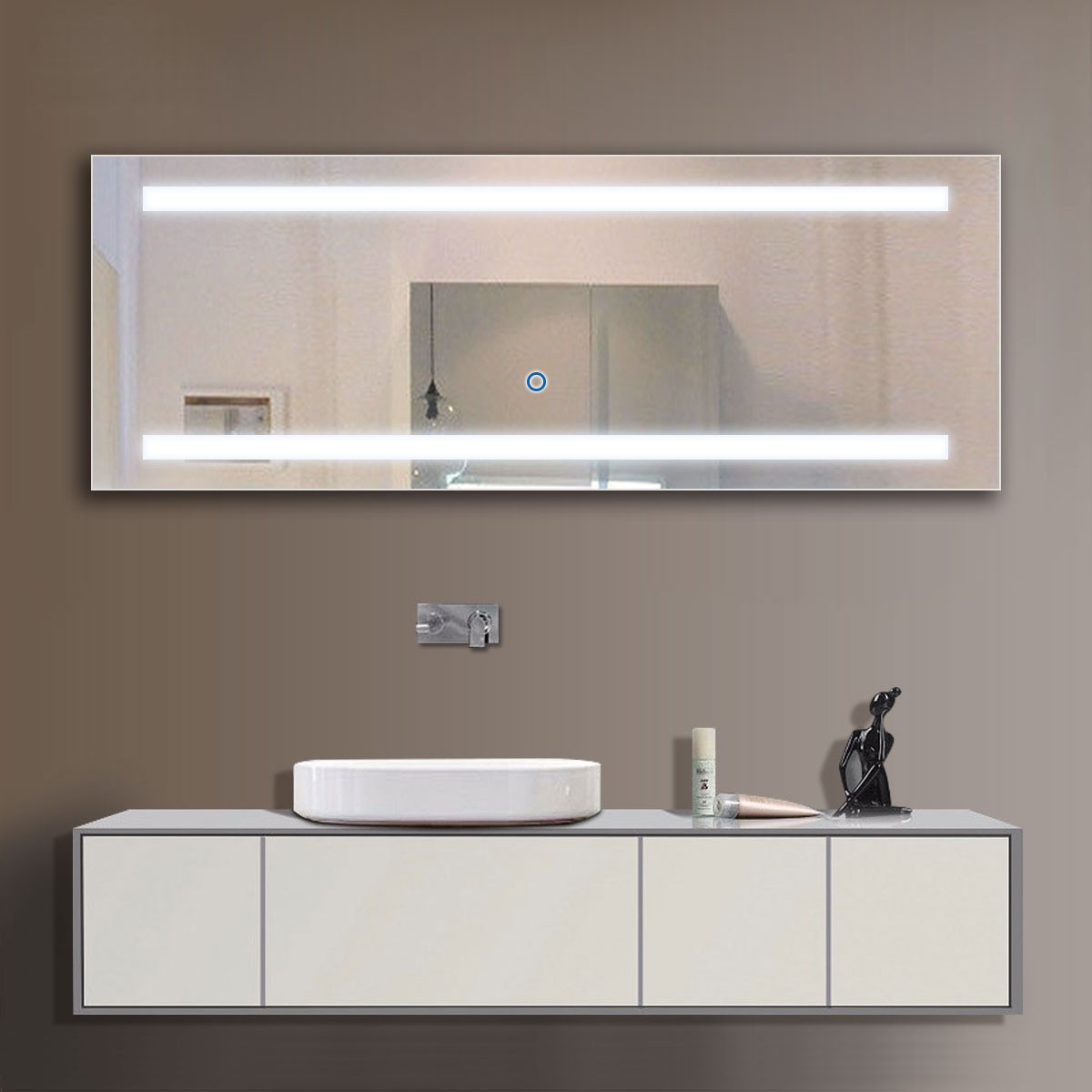 65 x 24 po miroir led salle de bain avec l interrupteur. Black Bedroom Furniture Sets. Home Design Ideas