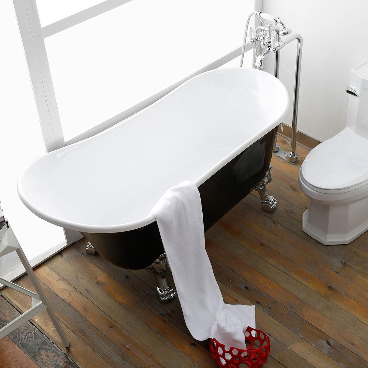 63 po baignoire sur pattes noire en acrylique de salle de bain dk 1675b decoraport canada Baignoire acrylique salle bains