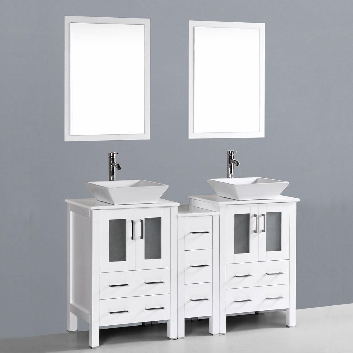 6 po meuble salle de bain sur pieds lavabo double avec - Meuble lavabo sur pied ...