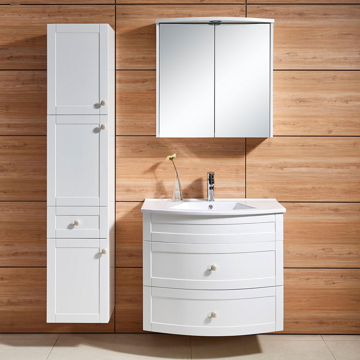 31 po meuble salle de bain suspendu au mur avec armoire for Meuble 70x30