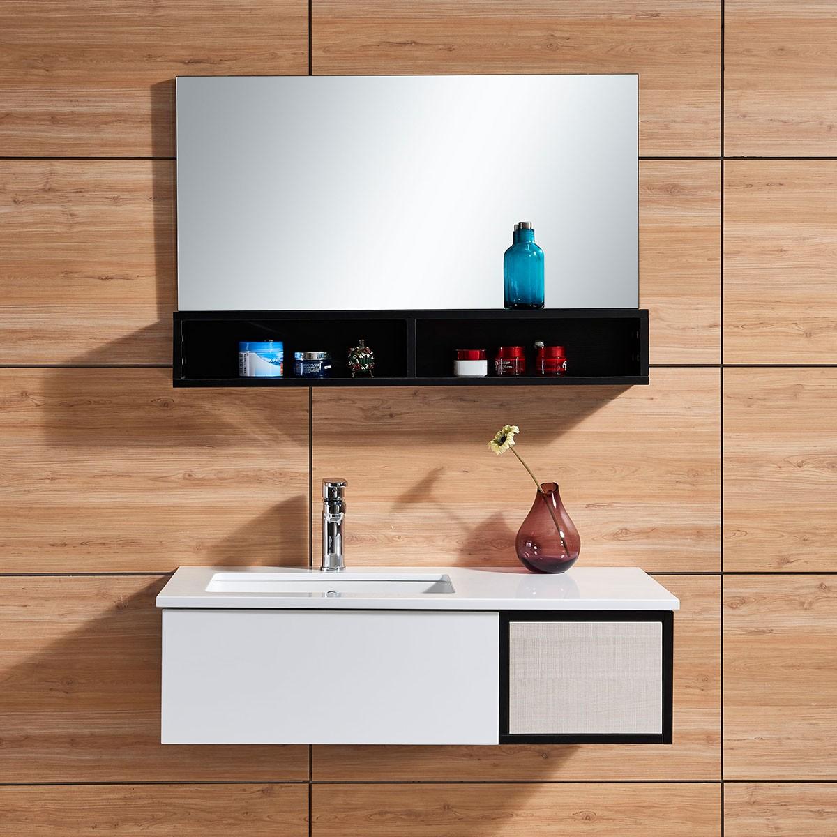 39 po meuble salle de bain suspendu au mur avec miroir dk for Miroir magique au mur