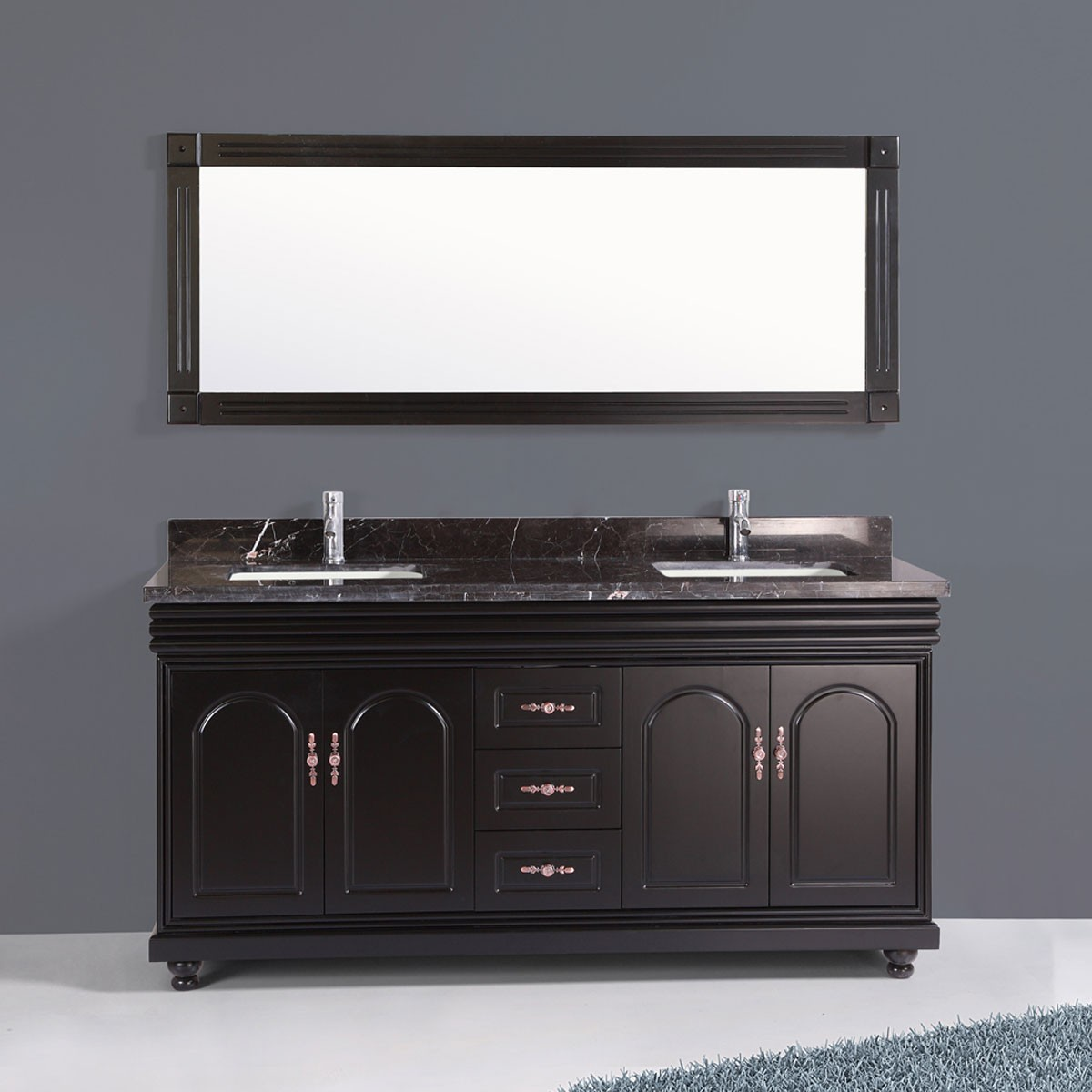 60 po meuble salle de bain avec lavabo double et miroir for Meuble lavabo miroir