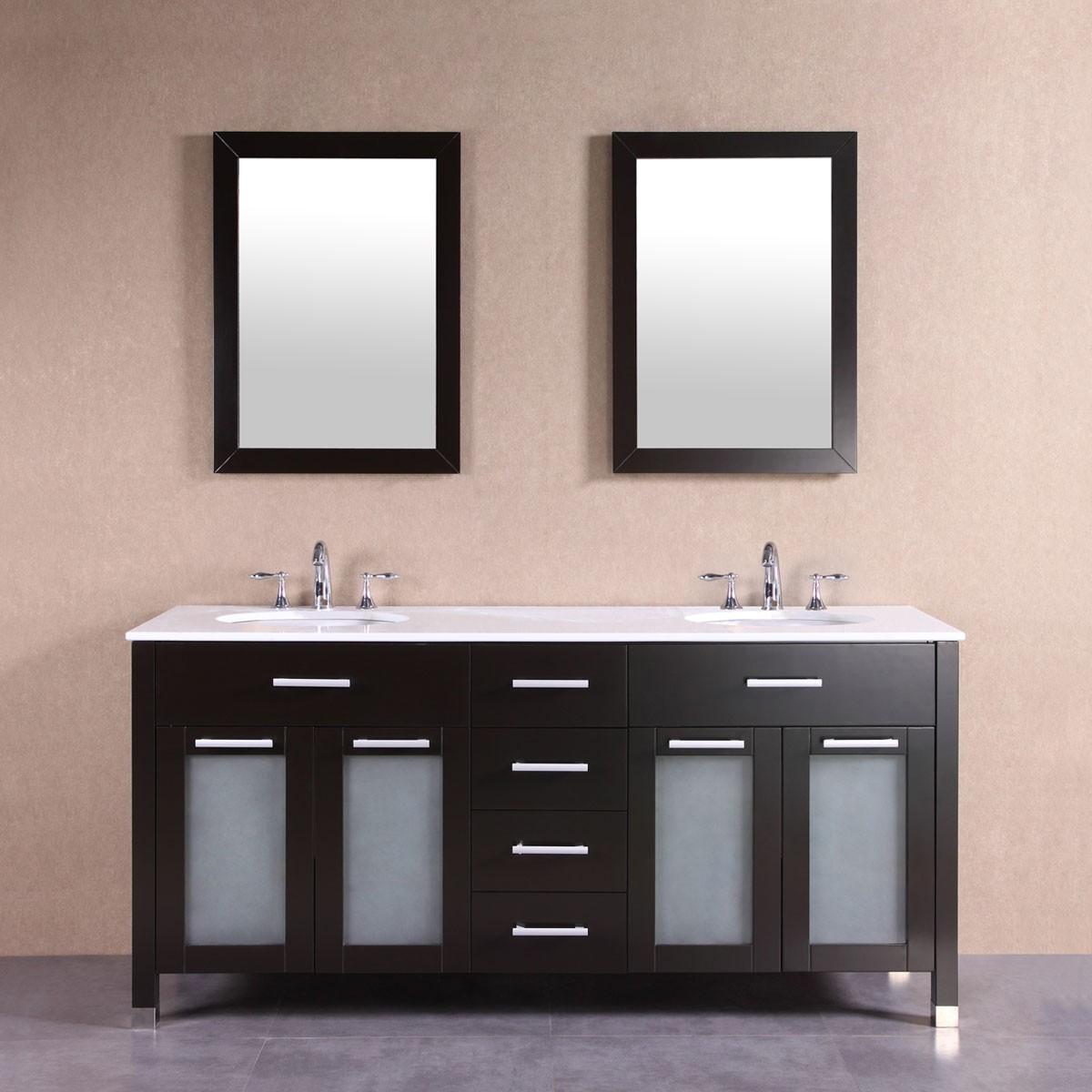 Po Meuble Salle De Bain Sur Pieds à Lavabo Double Avec Deux - Meuble salle de bain sur pieds