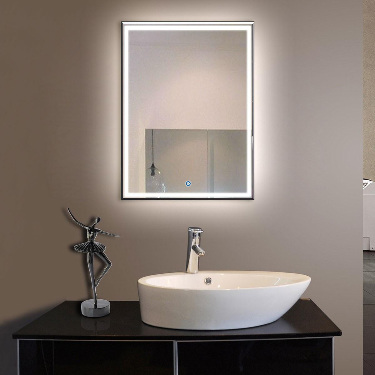 28 x 36 po miroir de salle de bain LED vertical avec bouton tactile (DK-OD-C226)