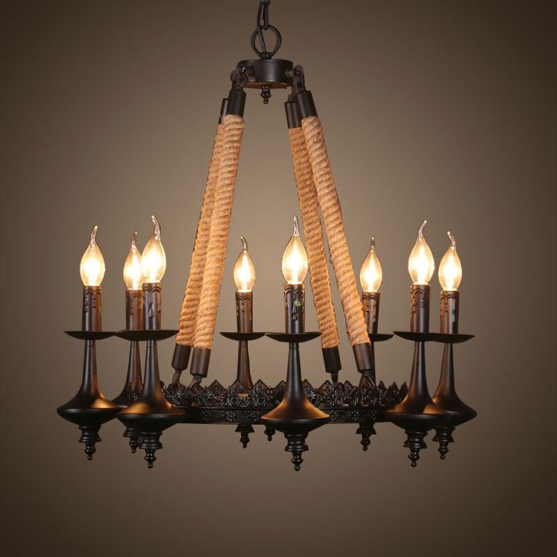 Bougie Forme Lustre Chanvre Corde Vintage en Fer à 8 Ampoules - Noir Mat (DK-8121-D8)