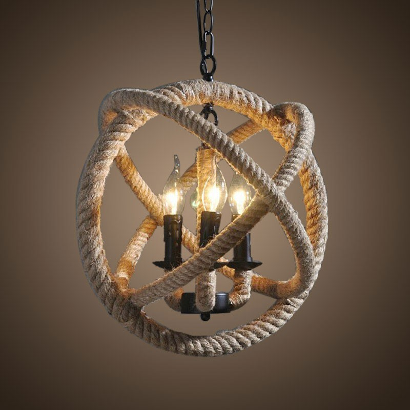 Bougie Forme Lustre Chanvre Corde Vintage en Fer à 3 Ampoules - Noir Mat (DK-8103-D3)