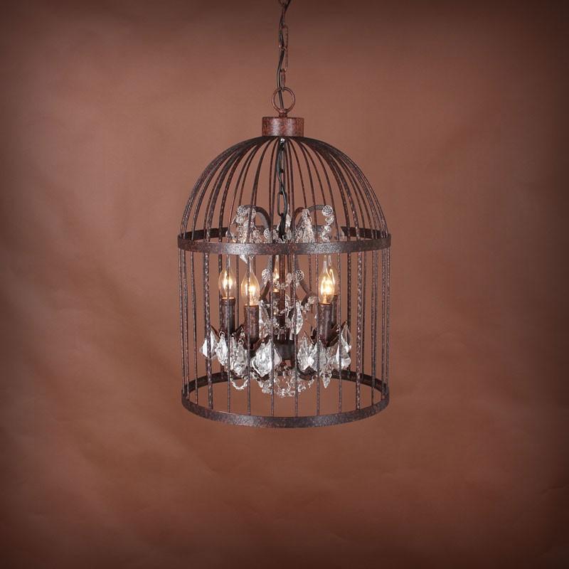 Lustre Cage Vintage en Fer à 5 Lumières - Rouille (DK-5006-D5)