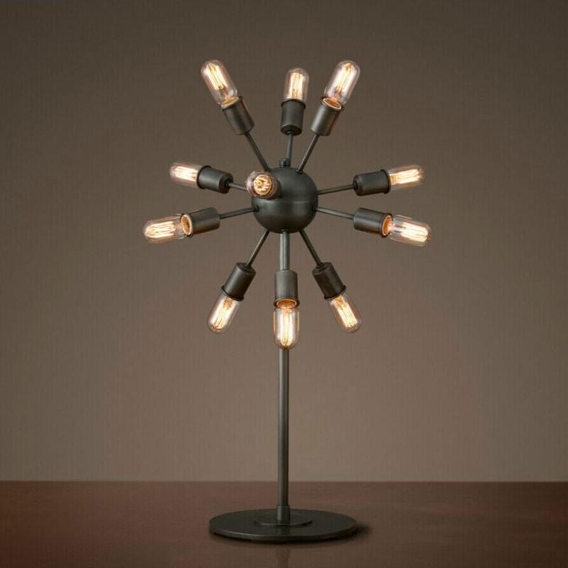 Lampe de Table Spoutnik Vintage en Fer à 12 Lumières - Noir Mat (DK-5010-T12)